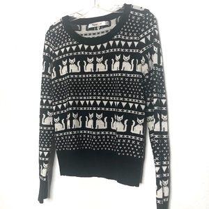 ModCloth cat print black & white sweater size M